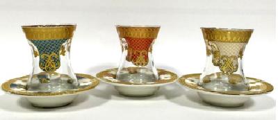 Набор стаканчиков на 6 персон с фарфоровыми блюдцами