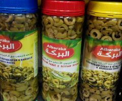Оливки зеленые нарезанные с черным тмином в оливковом масле 500 гр