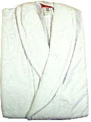 Банный махровый халат с выделкой (белый)