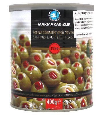 Оливки зеленые с перцем 400 гр