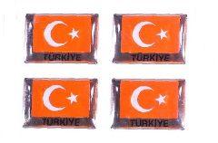 12 Turkish Flag Stickers