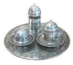 Медный лужёный кофейный набор: чашечка для кофе, стакан для воды и чаша для сладостей