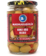 Оливки зеленые с перцем 4XL Marmarabirlik 400 г