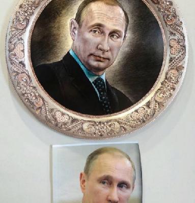 Гравировка портрета на медном подносе